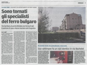 Articolo della Gazzetta di Parma del 2/12/2013 che riporta la notizia del furto nella casa di due giovani