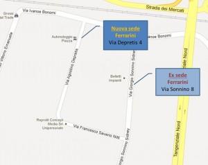 Ubicazione della nuova sede Ferrarini in via Depretis 4/a